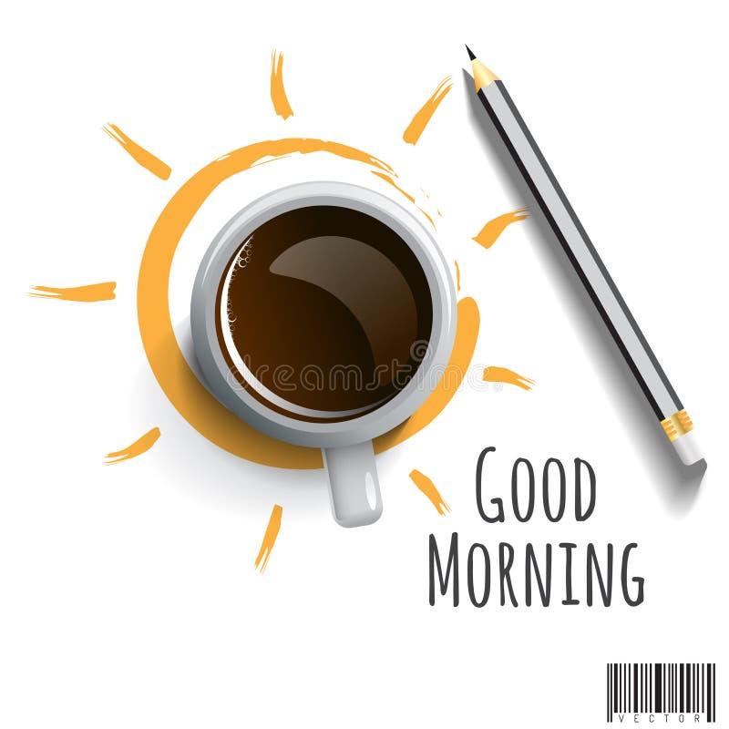 Morgen-Kaffee mit Bleistift und der Benennung des guten Morgens vektor abbildung