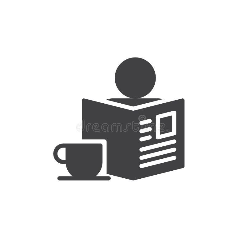 Morgen mit Zeitungs- und Tasse Kaffee-Ikonenvektor lizenzfreie abbildung
