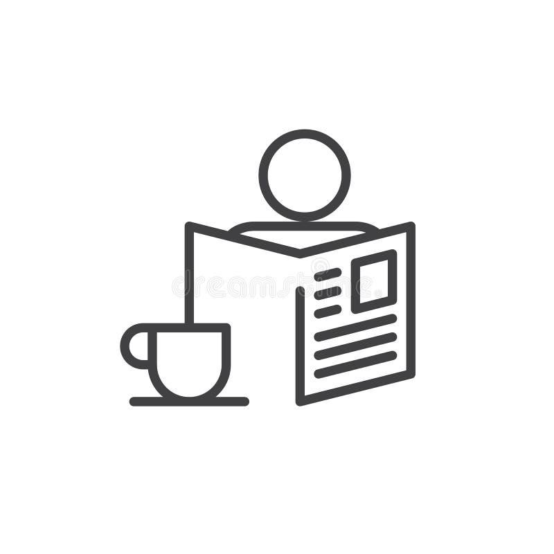 Morgen mit Zeitungs- und Tasse Kaffee-Linie Ikone vektor abbildung