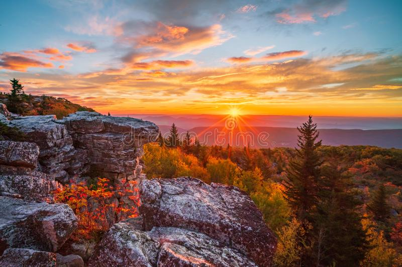 Morgen-Strahlen bei Dolly Sods stockfotografie