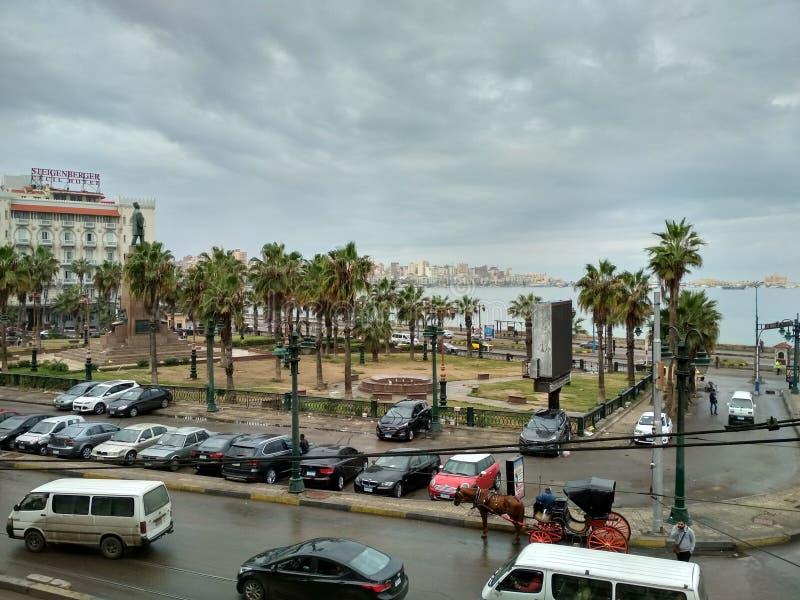 Morgenansicht-Alexandria-Meer lizenzfreies stockbild