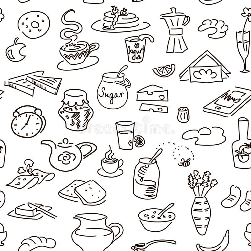 Morgenfrühstücksgekritzel auf Schwarzem Kreidebrettart skizze stock abbildung