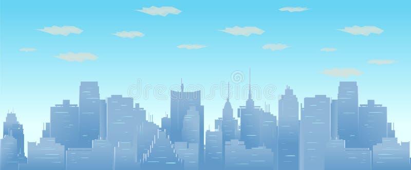 Morgenhimmel und -wolken über nahtloser Stadtbildillustration des Stadtschattenbildvektors lizenzfreie abbildung
