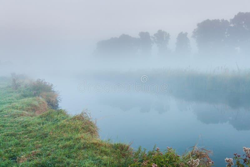 Morgennebel über einem kleinen Fluss stockfotos