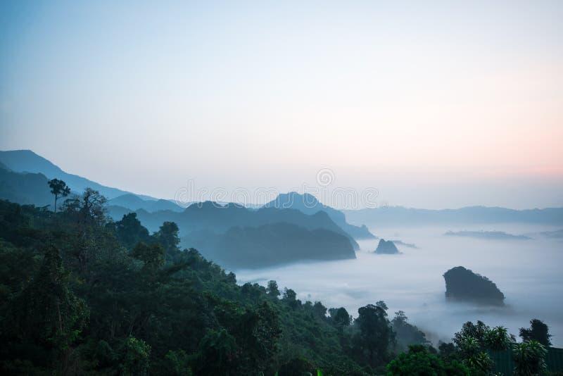Morgennebel bei Phu Lang Ka lizenzfreies stockfoto
