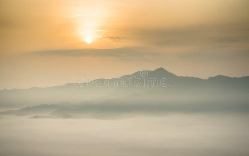 Morgennebel bei Phu Lang Ka, Thailand lizenzfreies stockfoto
