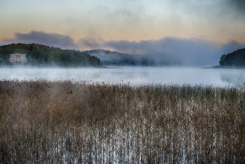 Morgennebel bei Sonnenaufgang lizenzfreie stockfotos