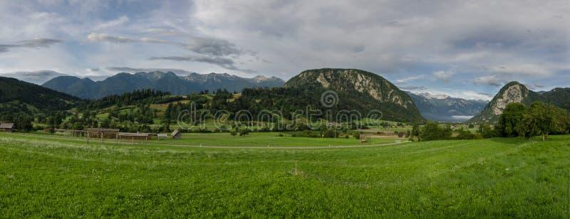 Morgenpanoramaansicht zum Tal nahe Bohinj See, Slowenien stockfoto