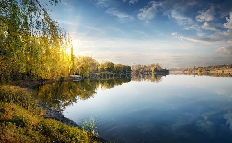 Morgensonne über Fluss stockbilder