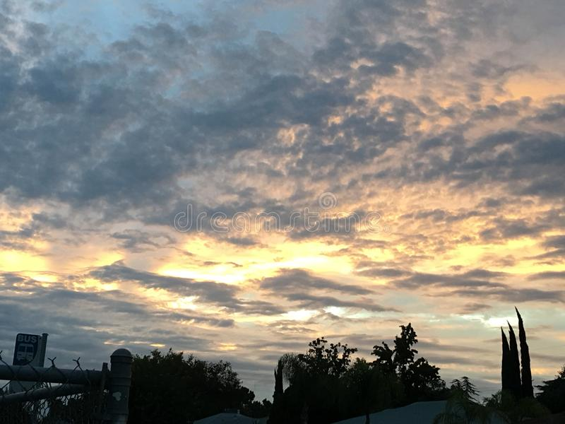Morgensonnenuntergang Fresno County stockfoto