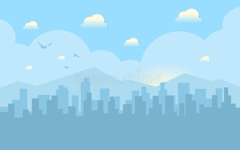 Morgenstadtskyline Gebäudeschattenbildstadtbild mit Bergen Großstadtstraßen Blauer Himmel mit Sonne und Wolken vektor abbildung