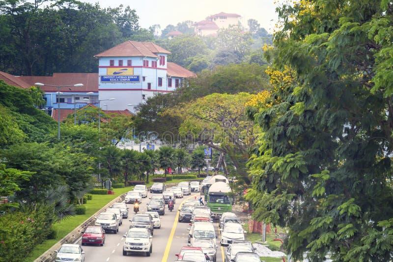 Morgenverkehr auf einer Stadtstraße, die den Regenwald durchläuft lizenzfreies stockbild