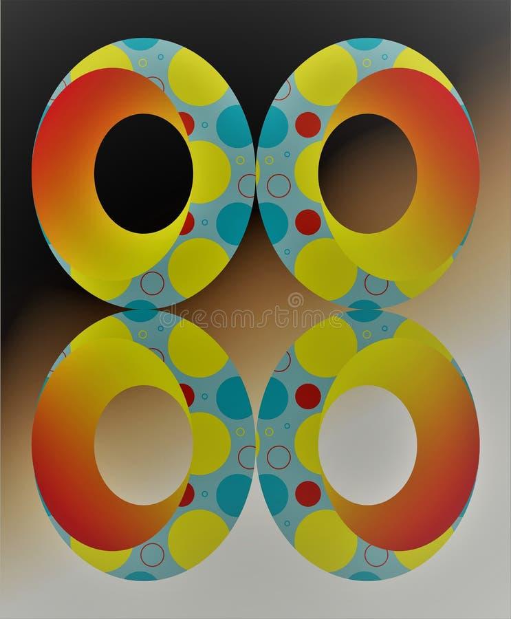 Morgon färg 3D, EFFEKT, RUNDA, PÅSK, ENORM CIRKEL vektor illustrationer