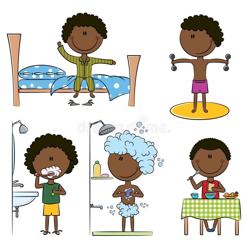 morgon för afrikansk amerikanpojkelivstid royaltyfri illustrationer