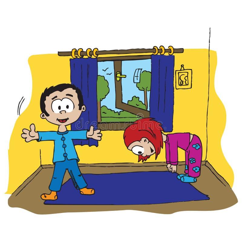 morgon för pojkeövningsflicka stock illustrationer