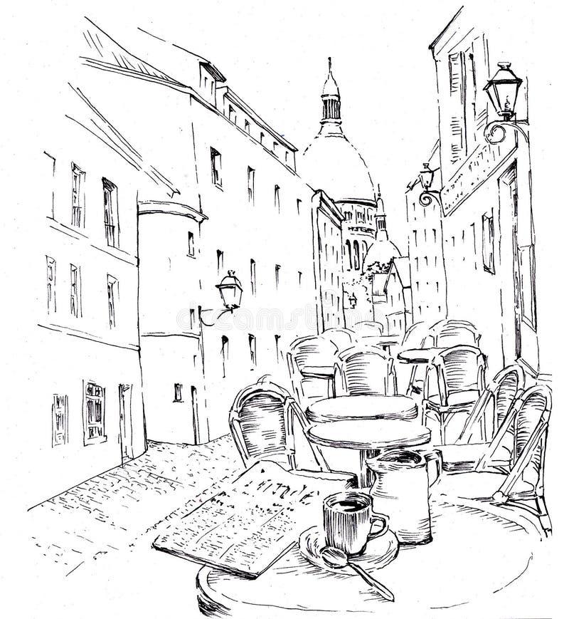 Morgon med kaffe vektor illustrationer