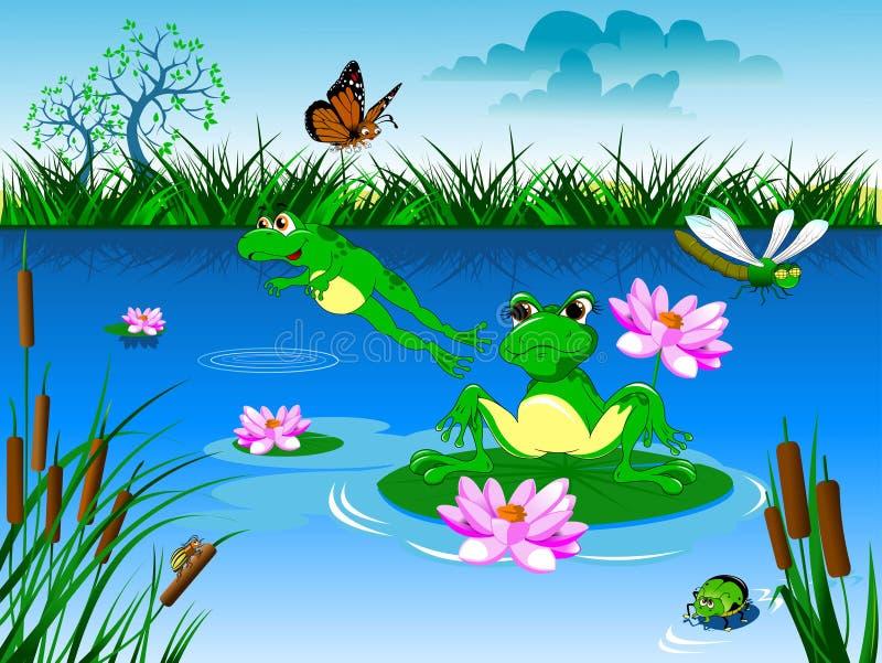 Morgon på dammet royaltyfri illustrationer