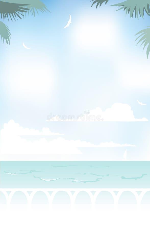 Morgon på havet stock illustrationer