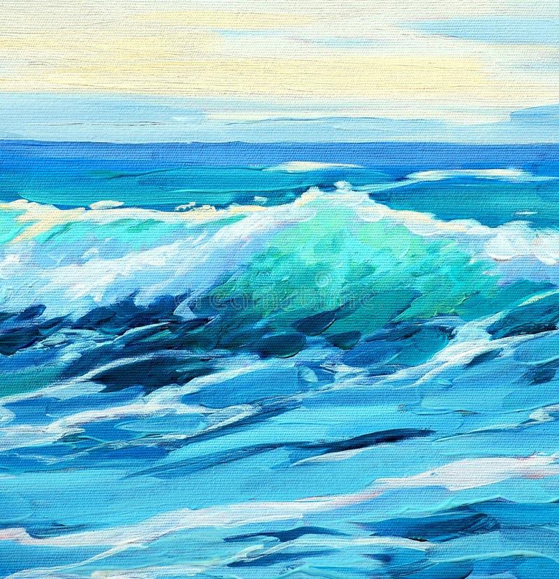 Morgon på havet, våg, illustration som målar royaltyfri illustrationer