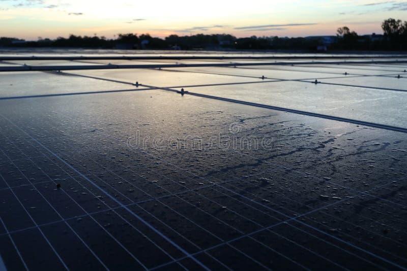 Morgondaggdroppe på solpanelen arkivfoton
