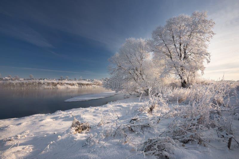 MorgonFrosty Winter Landscape With Dazzling vit snö och rimfrost, flod och genomdränkt blå himmel för A Liten flod för vinter på  arkivfoton