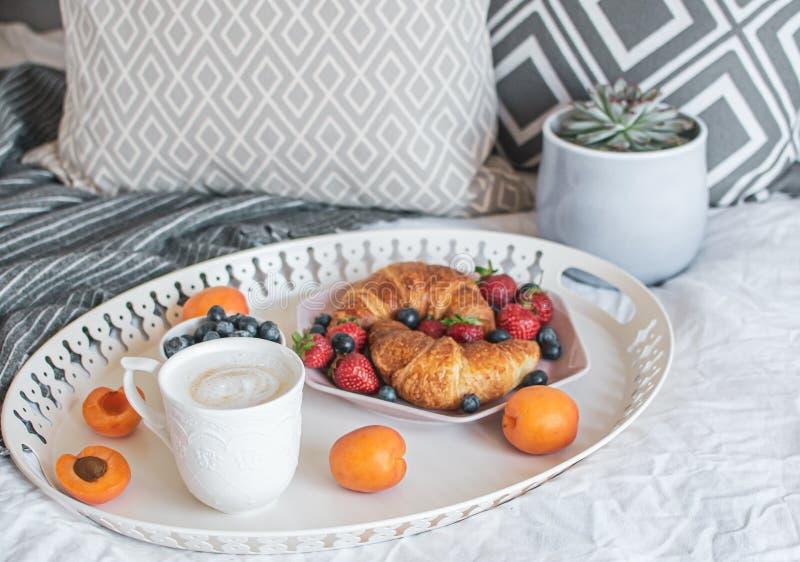 Morgonfrukost i säng, kopp kaffe, giffel, nya bär, kruka med suckulenten arkivfoto