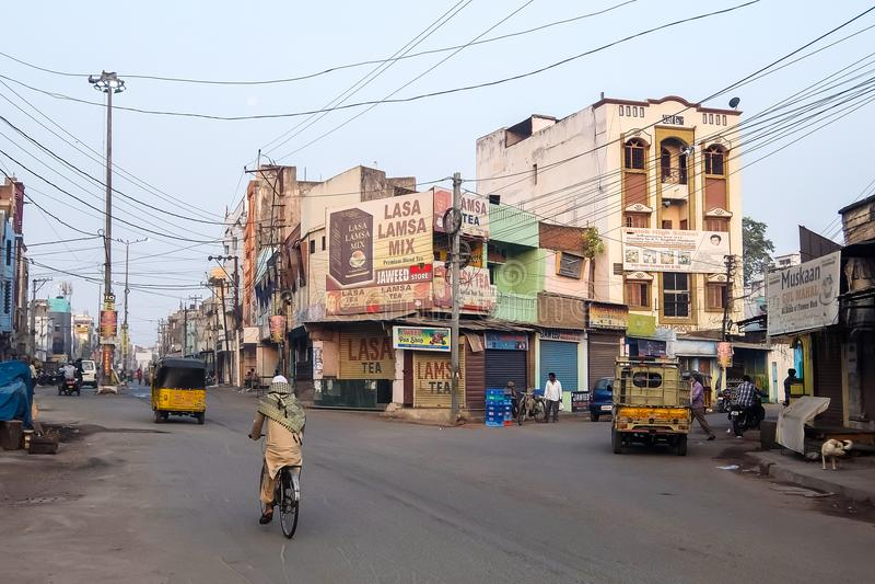 Morgongator av Hyderabad, Indien arkivbilder