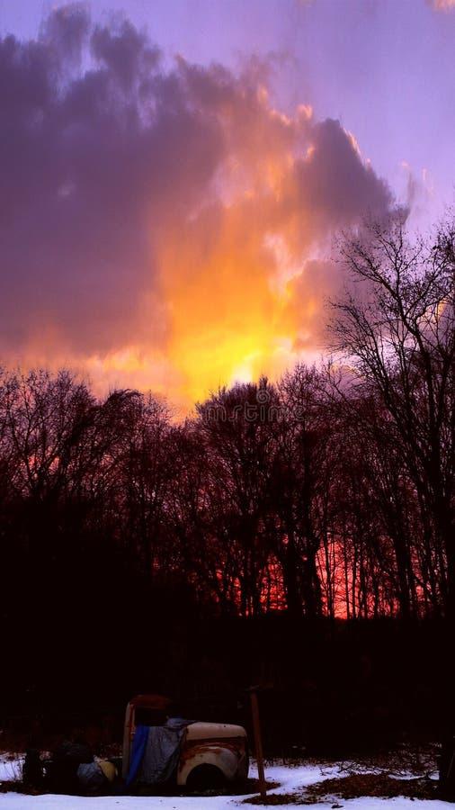 Morgonhimmelsken på en ` 47 royaltyfri foto