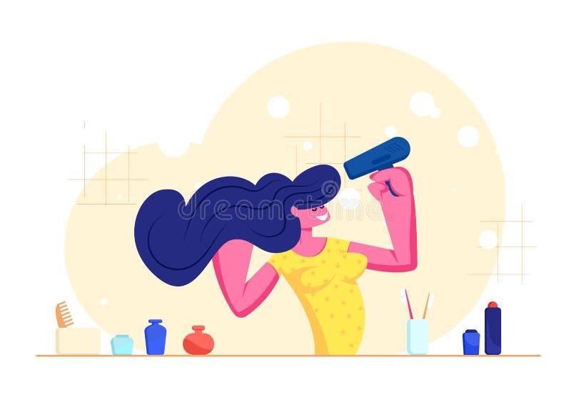 Morgonhygientillv?gag?ngss?tt i badrum Ung f?rtjusande kvinnast?llning framme av spegeln och torkande h?r f?r vask med h?rtork royaltyfri illustrationer