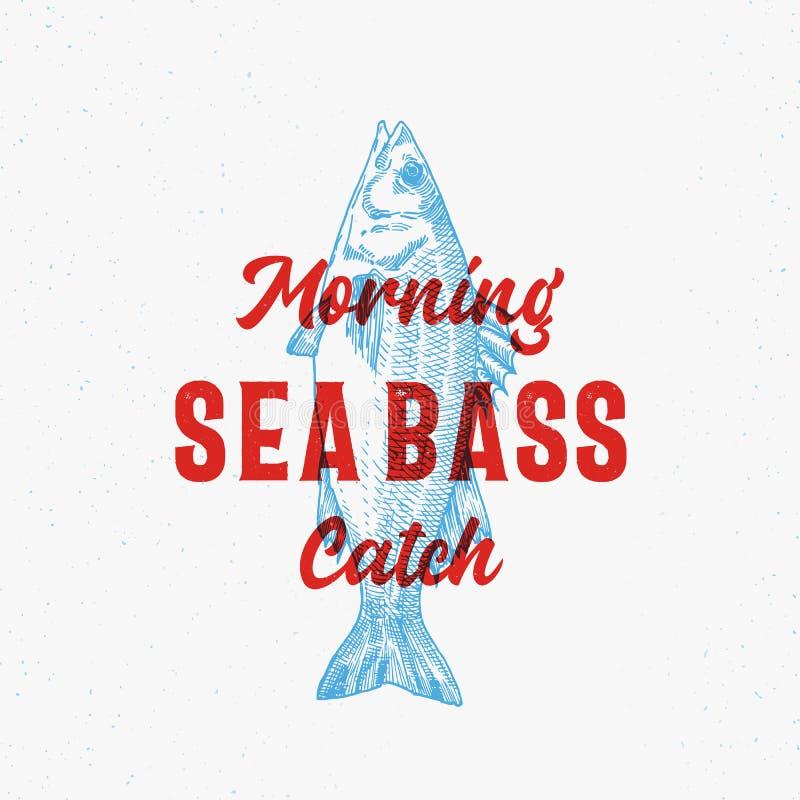 Morgonlåshav Bass Abstract Vector Sign, symbol eller Logo Template Utdragen Seabass för hand med flott Retro typografi stock illustrationer
