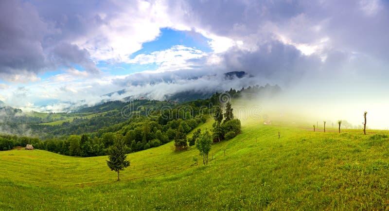 Morgonlandskap i bergen. Carpathian royaltyfria foton