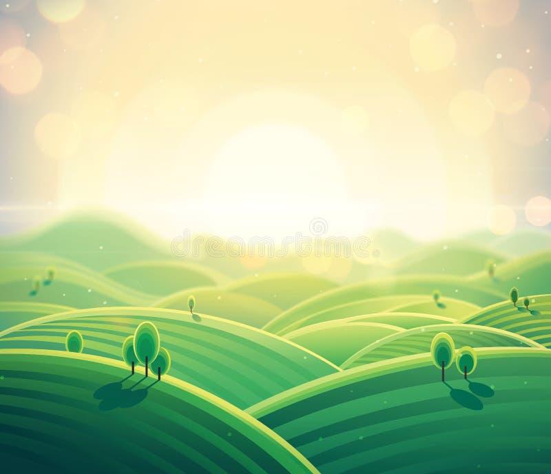 Morgonlandskapsoluppgång över kullar royaltyfri illustrationer