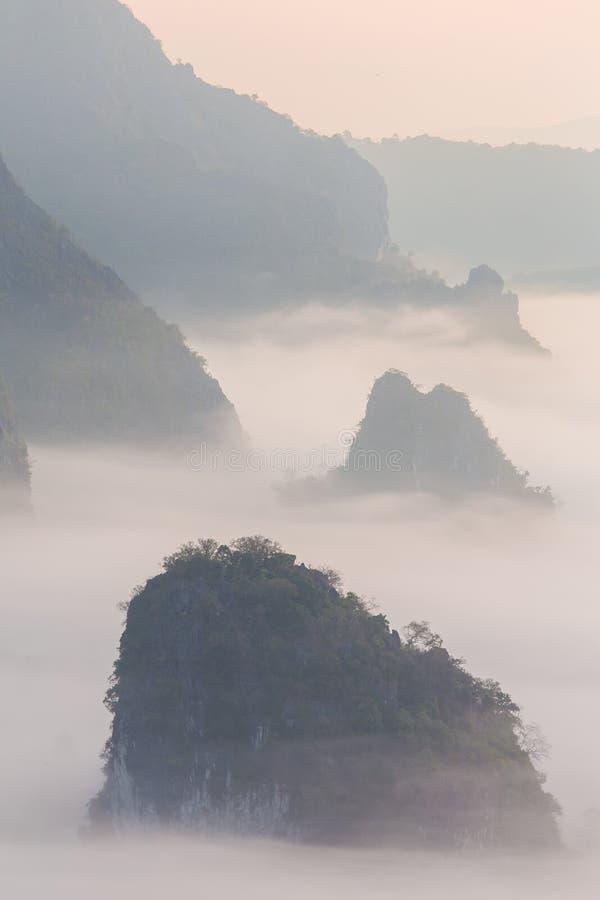 Morgonmist med berget fotografering för bildbyråer