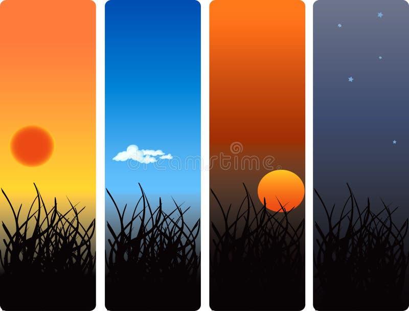 morgonnattmiddag stock illustrationer