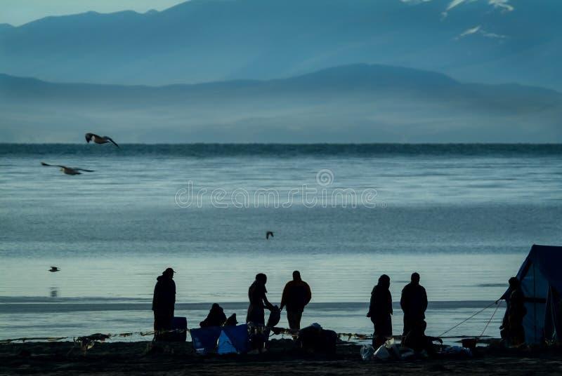 Morgonplatsen av vallfärdar campingplatsen på den nordliga banken av sjön Manasarovar, arkivfoton