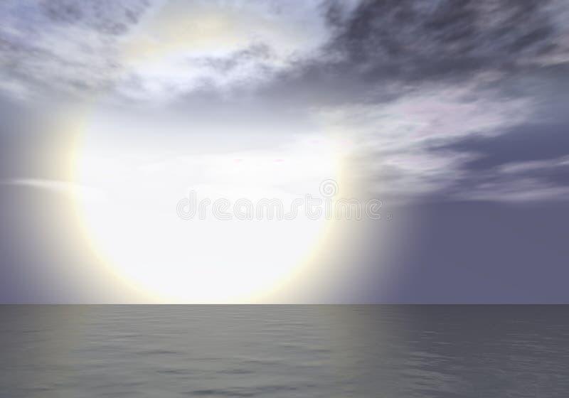 Morgonrodnad - solnedgång ovanför havshorisonten stock illustrationer