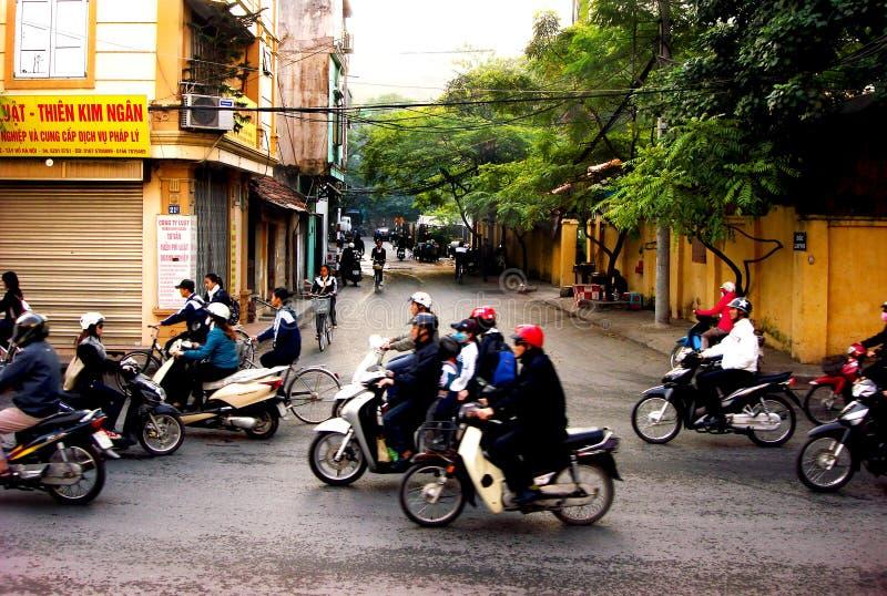 Morgonrusningstid, Hanoi, Vietnam fotografering för bildbyråer