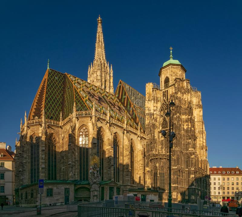 Morgonsikt av ber?mda St Stephen & x27; s-domkyrka p? Stephansplatz i Wien, ?sterrike royaltyfria bilder