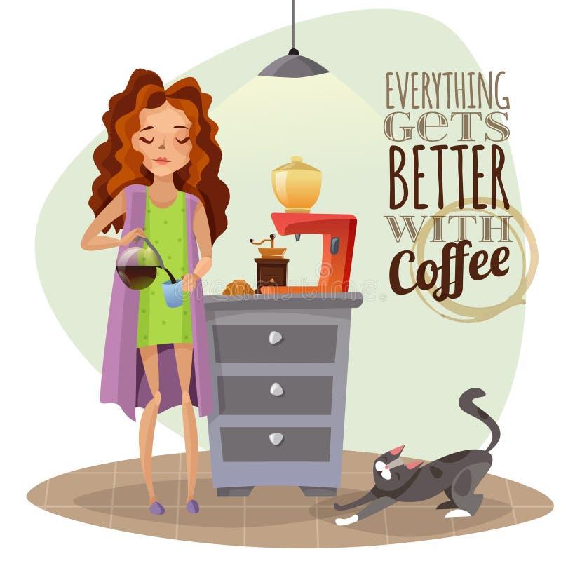 Morgonuppvaknande med koppen kaffe royaltyfri illustrationer