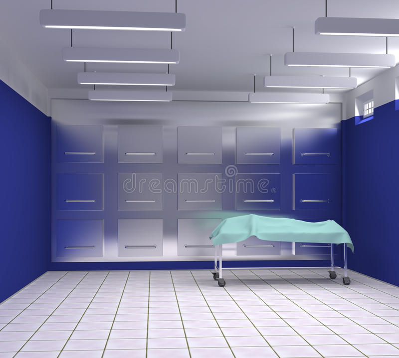 Morgue with blue and white walls stock photos