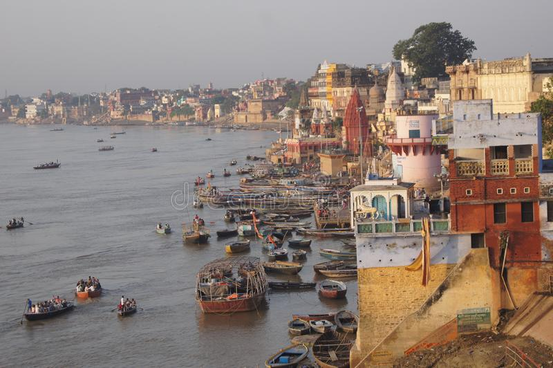 Moring of the Ganges river in India. 