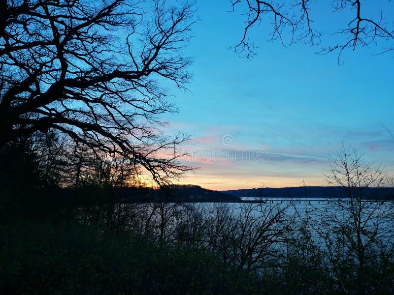 Moring sikt förutom den fridsamma sjön arkivbild