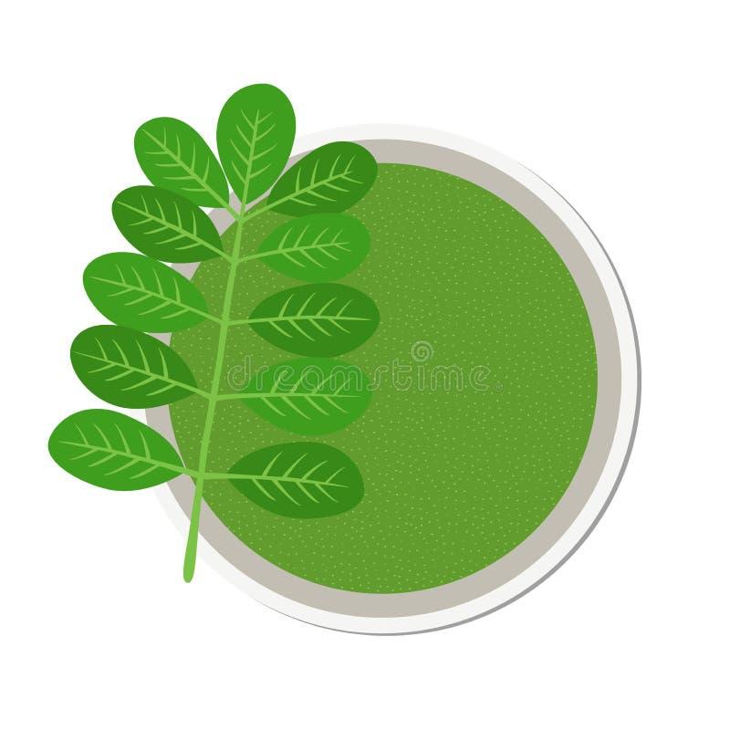 Moringa, вегетарианское superfood здоровое питание Трава, овощ, порошок, дерево в цветочном горшке иллюстрация вектора