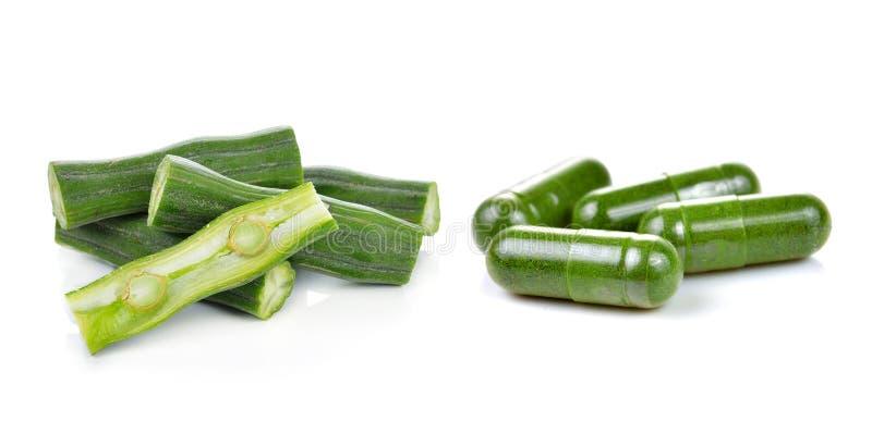 Moringa and capsule pills stock photos
