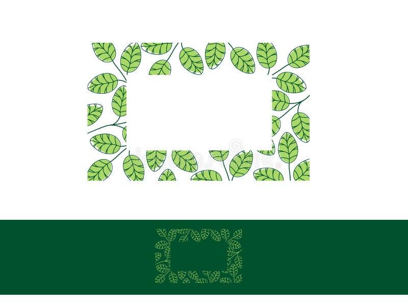 Moringa Leaf Frame stock illustration