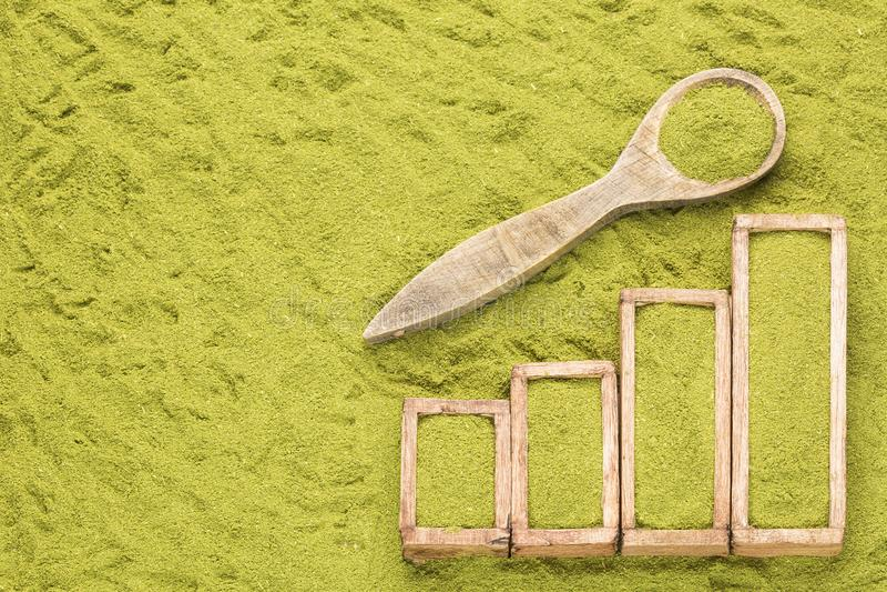 Moringa oleifera - статистическая таблица продажи и потребление moringa Космос текста стоковые фото