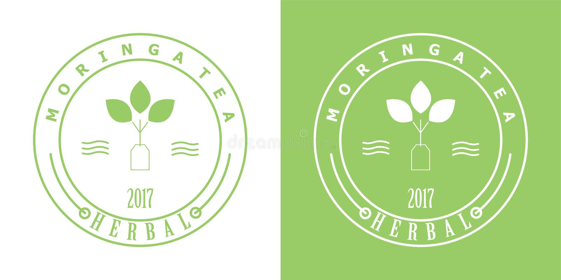 Moringa-Teeausweislogo lizenzfreies stockbild