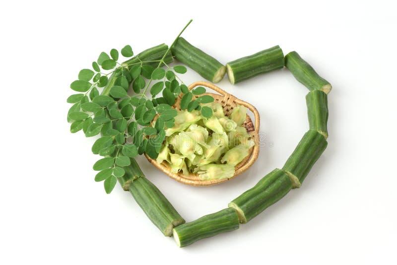 Moringa zaden, verse kruiden, groenten royalty-vrije stock afbeeldingen