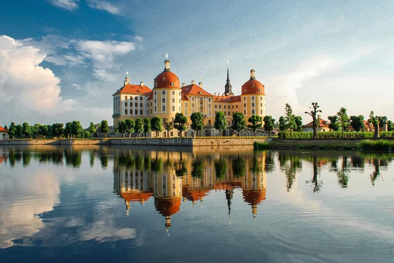 Moritzburg Castle Moritzburg Palace Baroque, German state of Saxony. Castle on the water, country manor for hunting lake around the castle beautiful parks near stock photo