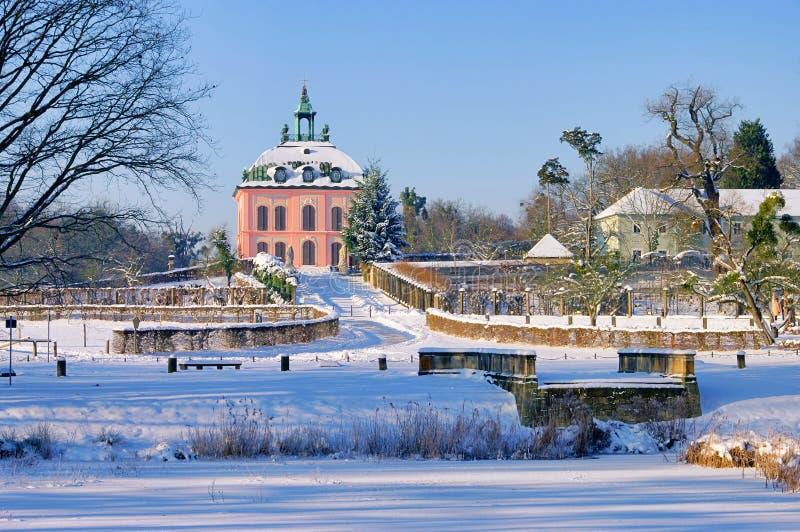 Moritzburg kleines Fasan-Schloss im Winter stockfotos